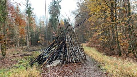 Barrikaden aus aufgeschichtetem Holz und Stacheldraht