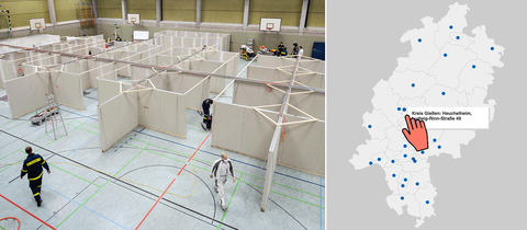 Eine Bildkombination aus einem Foto eines Aufbaus eines temporären Impfzentrums in einer Turnhalle und einer Karte, in welche die geplanten Impfzentren eingezeichnet sind.