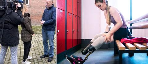 Die Bildkombination zeigt zwei Fotos: 1. Die Reporterin Lisa im Interview mit Ulrich Wagner. 2. Lisa in einer Umkleide mit entblößten Beinprothesen.