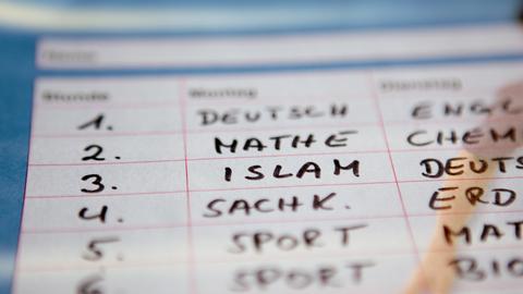 Stundenplan mit Islam als Schulfach