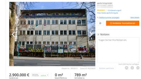 Verkaufsangebot für das IvI-Gebäude in Frankfurt