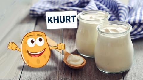 Joghurtgläser mit Kartoffel-Illustration