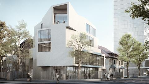 Entwurfsgrafik des geplanten Gebäudes: ein weißes, mehrstöckiges, abwechslungsreich geformtes Eckgebäude mit großen Fenstern.
