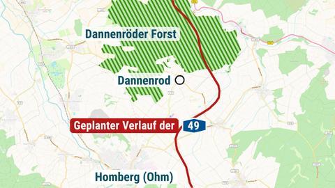 Karte Nordhessen Dannenröder Forst mit geplanter A 49