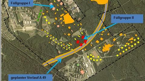 Lageplan zur geplanten A49.