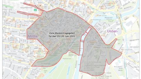 In diesen Teilen des Stadtgebiets hat Kassel für das Wochenende 19./20. Juni eine Maskenpflicht angeordnet.