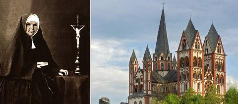 Collage aus Foto von Katharina Kasper und Limburger Dom
