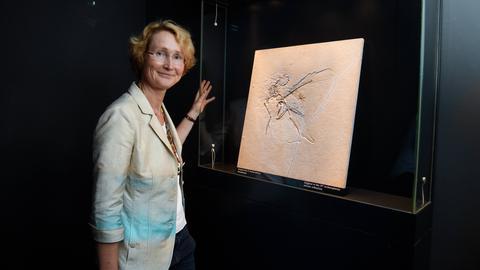 Katrin Böhning-Gaese mit dem Fossil eines Dinosauriers im Senckenberg-Museum.