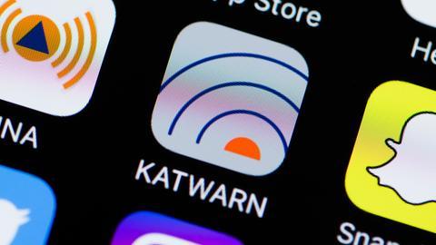 Katwarn-App auf dem Smartphone
