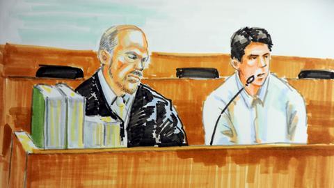 Eine Gerichtszeichnung aus dem Prozess gegen Kevin S.