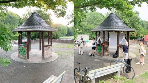 Die Bildkombo zeigt zweimal den Pavillon aus Holz: einmal ist die Szene menschenleer und der Pavillon unbenutzt, auf dem anderen Bild tummeln sich Studierende im und um den Pavillon. Sie haben den Pavillon ausgestattet und inszeniert. Im Vordergrund lehnen zwei Fahrräder an einer Bank.