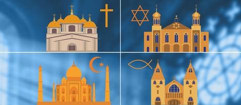 Symbole für Katholische, evangelische, muslimische und jüdische Gotteshäuser