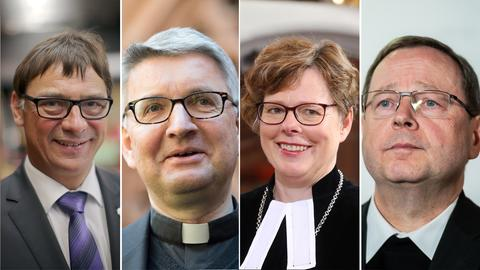 Von links nach rechts: der hessen-nassauische Kirchenpräsident Volker Jung, der Mainzer Bischof Peter Kohlgraf, die Bischöfin von Kurhessen-Waldeck Beate Hofmann und der Limburger Bischof Georg Bätzing.