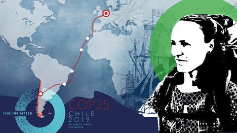 Illustration zur Reise der Klimaaktivistin von Glasow inklusive Route