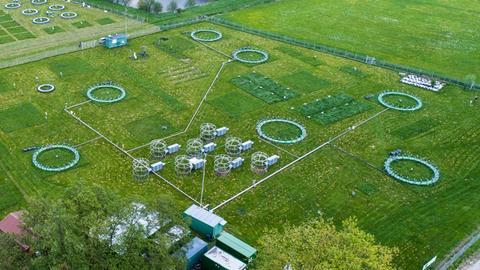 Klimafolgenforschungsanlage FACE in Linden-Leihgestern bei Gießen aus der Vogelperspektive