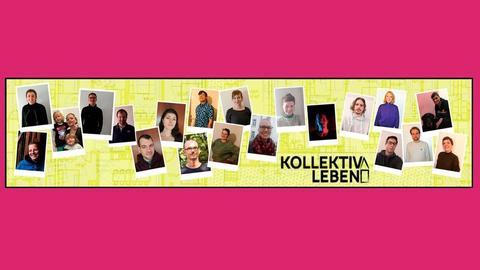 """Viele Portraitfotos sind wie Spielkarten auf einem grünen Hintergrund (ein Grundriß) verteilt. Dabei steht """"Kolle Kollektiv"""" und das grüne Feld steht schwarz umrandet auf einer pinkfarbenen Fläche."""