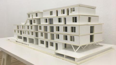 Kolle-Haus als Modell: Vier Etagen, viele Dachterrassen.