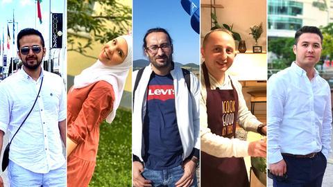 Bildkombo: Fünf ehemalige Flüchtlinge in Hessen