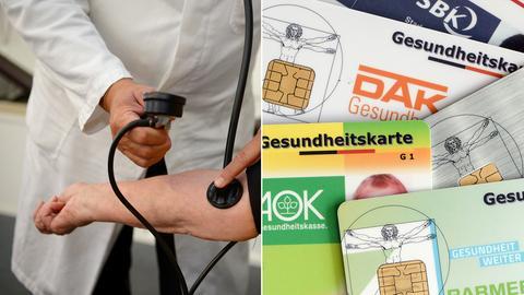 Bildkombo: Arzt untersucht Patienten/ Gesundheitskarten verschiedener Krankenkassen