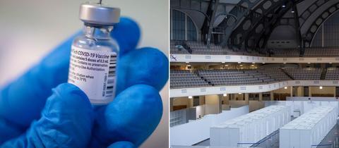 Bildkombo Impfzentrum Festhalle/ Hand mit blauem Gummihandschuh hält Covid-19-Impfstoff