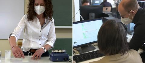 Lehrerin Daniela Heinrich-Stiller demonstriert die Herstellung der essbaren Folie (links), Schüler der Arnold-Bode-Schule in Kassel