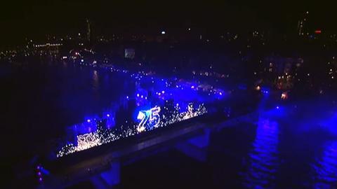 Einheits-Lichtshow am Main in Frankfurt