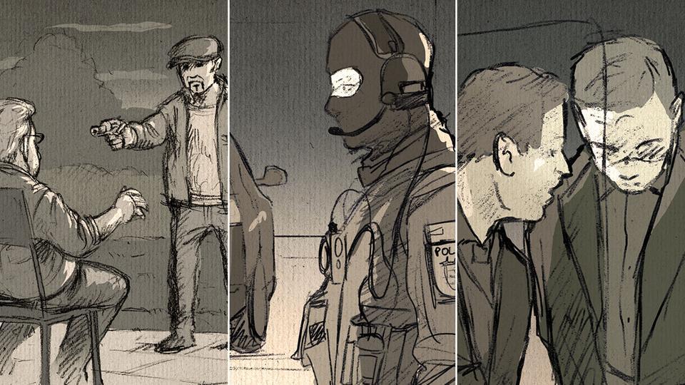 Illustrationen, Mord, SEK und Gerichtssaal