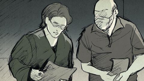 Zeichnung von Markus H. und seiner Anwältin im Gerichtssaal.
