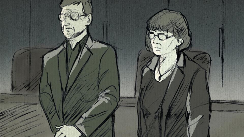 Zeichnung von Frau Lübcke und ihrem Sohn im Gerichtssaal.