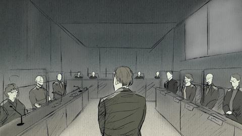 Zeichnung vom Gerichtssaal mit Richtern, Angeklagtem, Zeugen und Anwälten während des Prozesses zum Lübcke-Mord.