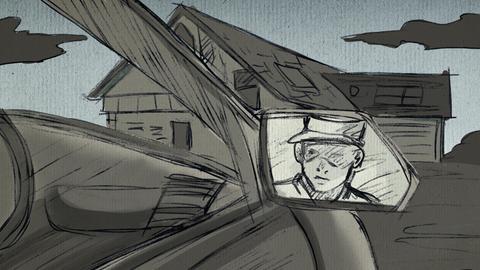 Zeichnung eines mutmaßlichen Tathergangs. Im Auto sitzt Ernst, sein Gesicht ist im Autospiegel zu sehen, und blickt auf Lübckes Wohnhaus.