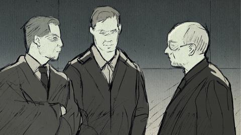 Zeichnung von S.Ernst und seinen Anwälten im Gericht.