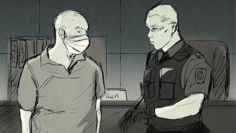 Zeichnung von Polizist Hartmann und Justizvollzugsbeamtem im Gerichtssaal.