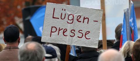 Demonstranten mit Lügenpresseschild