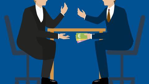 Die Grafik zeigt einen Tisch an dem zwei Personen sitzen. Unter dem Tisch wird Geld überreicht.