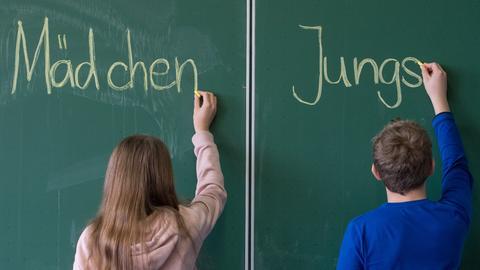 Zwei Kinder schreiben die Worte Mädchen/ Jungs an eine Schultafel