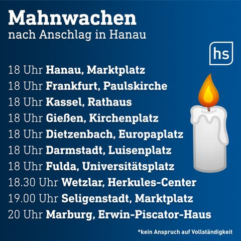 Tabllarische Übersicht über die Mahnwachen in Hessen nach dem Anschlag in Hanau