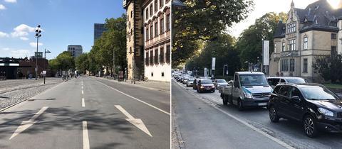 Autofreier Mainkai und volle Straßen am Museumsufer in Frankfurt
