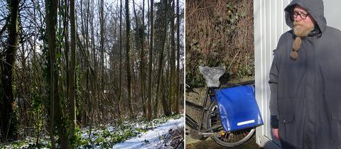 Wald im Bergpark Kassel, Frank K. vor seiner neuen Hütte