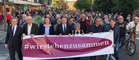 Demo gegen Antisemitismus in Marburg