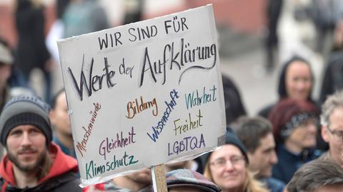 Demonstranten auf dem Frankfurter March of Science