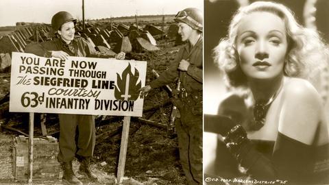 Marlene Dietrich im Einsatz an der Front und als Portrait