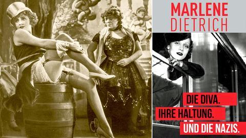"""Plakat der Marlene Dietrich-Ausstellung und Marlene Dietrich im Film """"Der blaue Engel"""""""