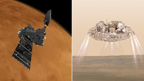 Bildkombination Orbiter über dem Mars/Landeeinheit