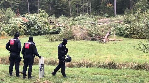 Polizisten stehen vor einer gerodeten Waldfläche.