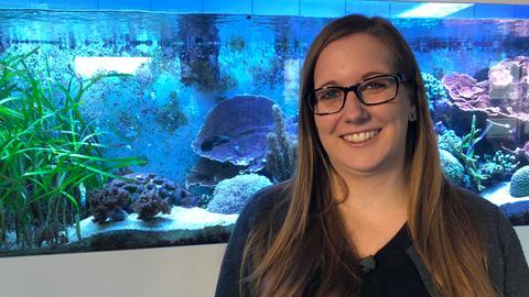 Forscherin steht vor Aquarium