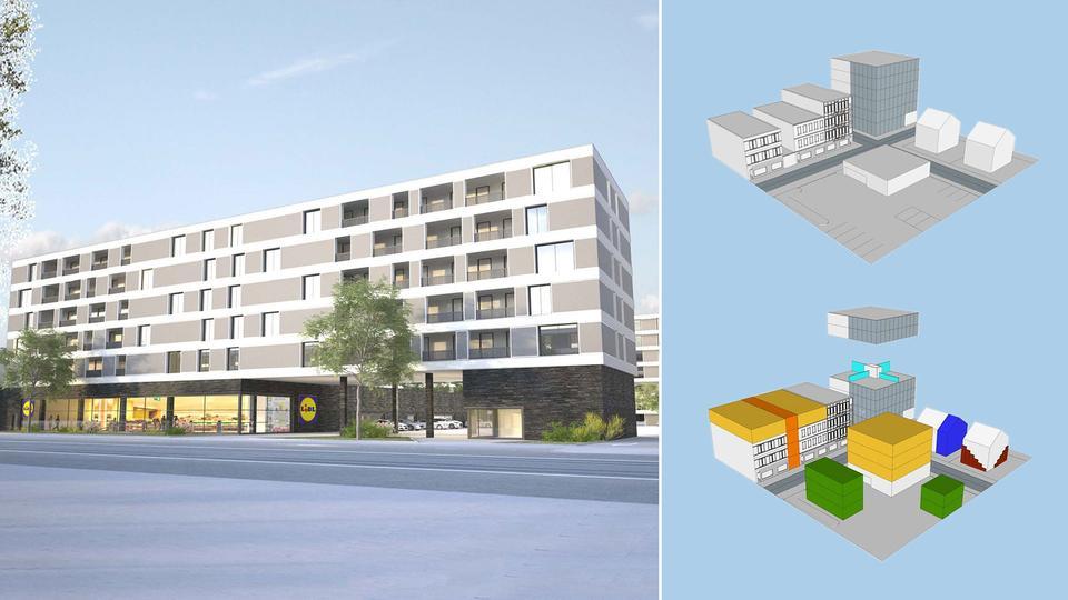 Die Grafiken zeigen Möglichkeiten einer Nachverdichtung im städtischen Wohnungsbau.