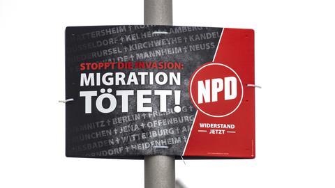 "NDP-Plakat ""Migration tötet"""