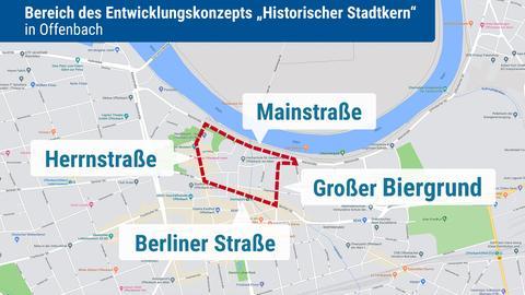 Der historische Stadtkern von Offenbach