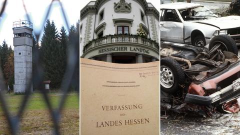 Die innerdeutsche Grenzmauer, die hessische Verfassung und zerstörte Autos nach einem RAF-Attentat